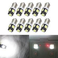 10pcs Carro Levou T5W BA9S 12V 100Lm 5 Bulb 5050 SMD LED Lâmpada de Luz interior do carro lâmpada branca BA9S led da luz do carro luz de estacionamento
