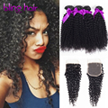 Brazilian Virgin Hair With Closure 3/ 4 Bundles Human Hair Kinky Curly Virgin Hair with Closure Kinky Curly Hair with Closure