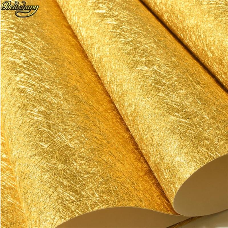 Beibehang or jaune argent or feuille d'or papier peint salon chambre porche plafond TV fond papel de parede