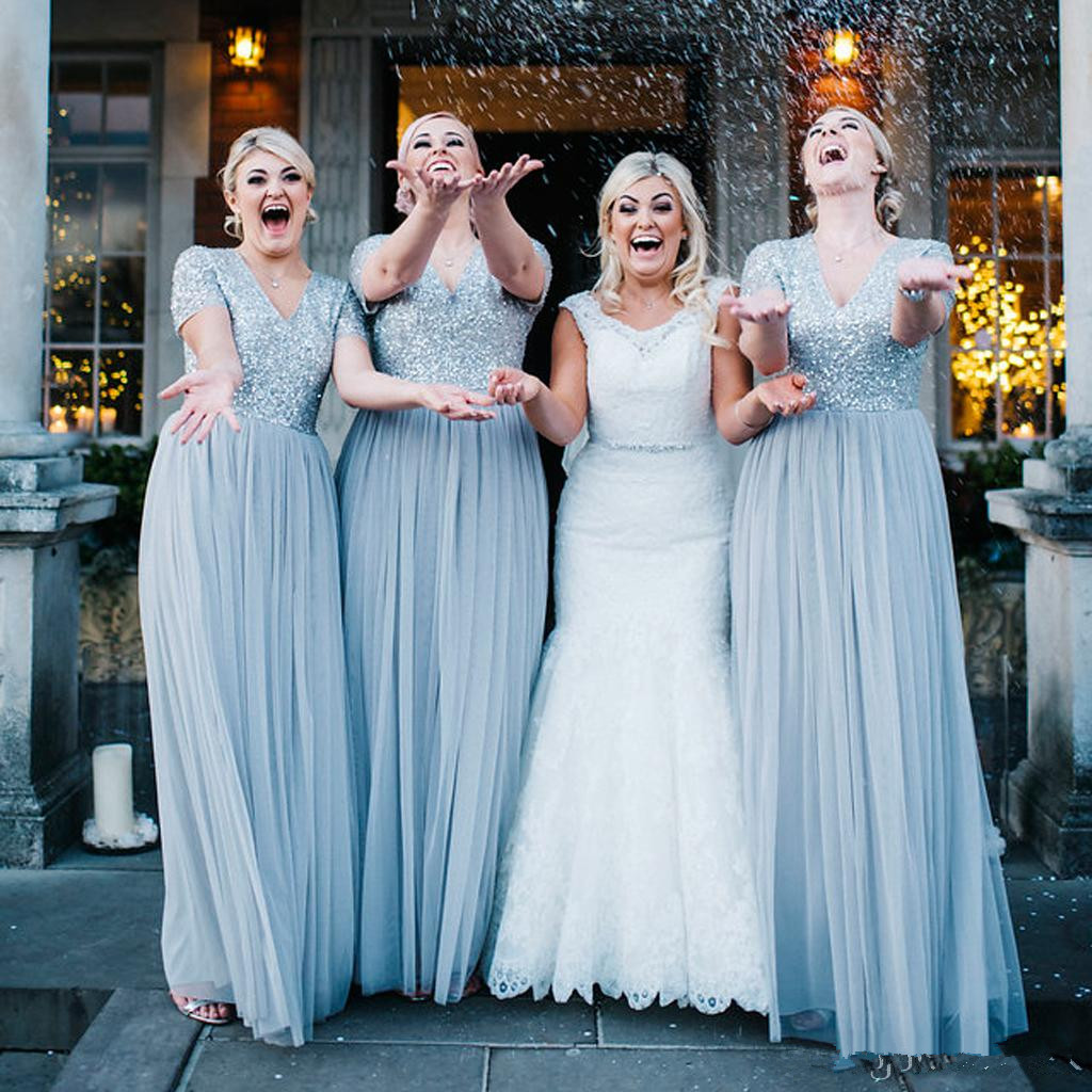Dusty Blue country Bridesmaid   Dresses   cheap Top Sequin   Prom     Dresses   With Short Sleeve V Neck Bling Party Gowns Robes de demoise
