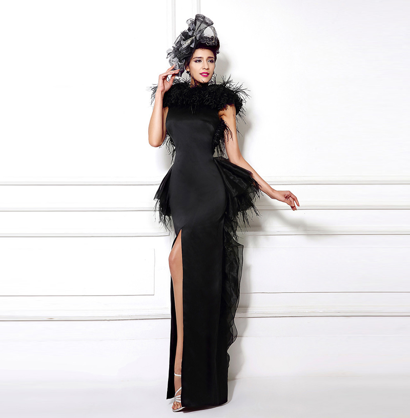 2017 New Black Long Evening Dresses Rushed Feather Dress