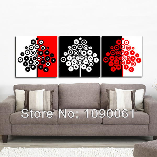 Black white red oil paintings 3 piece canvas art modern landscape decorative pictures for home decoration
