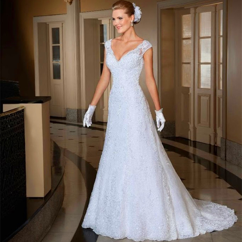 Romantic Style Deep V-neck Cap Sleeves Lace Covered Back Wedding Dresses Mermaid 2015