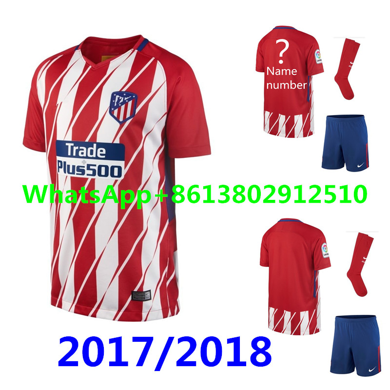 d80785fb4 ... Personalized 2017-2018 Atletico Madrid Home Nike Football Shirt 201718  Top Best Qualit Atleticoed Madrided adult kit +sock Short Soccer jersey 17  18 Man ...
