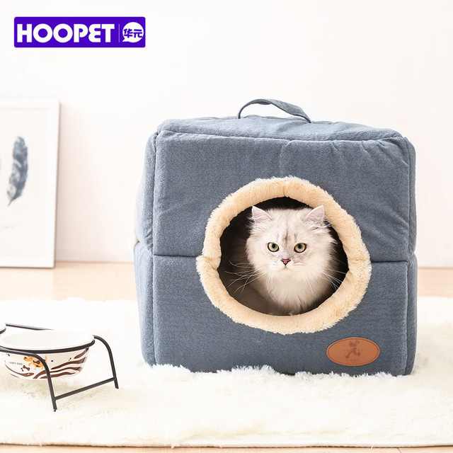 Hoopet New Washable Pets Cat House Cozy Cave Warm Soft Cave Bed Portable Hammock Sleeping Bed for Cat All Seasons