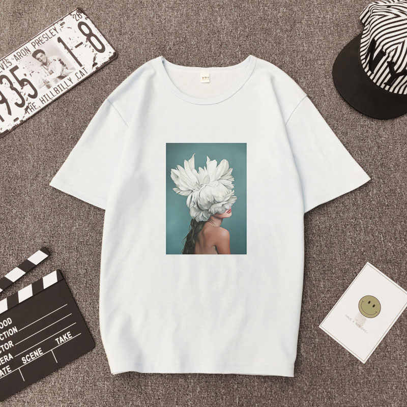 Kawaii Harajuku Women Tshirt Clothes 2019 Streetwear Tops Aesthetic Korean Style Ulzzang Paint Sexy Flowers Fashion Funny Tees