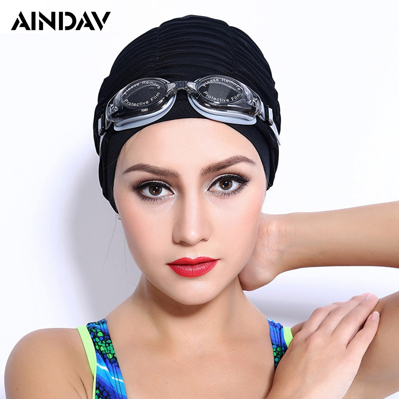 Sporty Ultrathin Adult Swimming Caps for Long Hair Pure Color Swimming Hat Pool Wear Protect Ears Bathing Cap