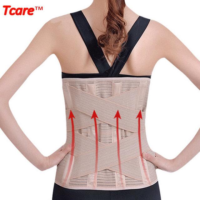 Tcare Trainer Cintura Ajustável Ampliou Cintura Cuidados de Saúde de Volta Cinta Cinto Postura Corrector Apoio Lombar com Manchas Quentes