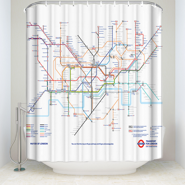 CHARMHOME Map Decor Shower Curtain City Subway Of London Rail Transit Polyester Fabric Waterproof Bath
