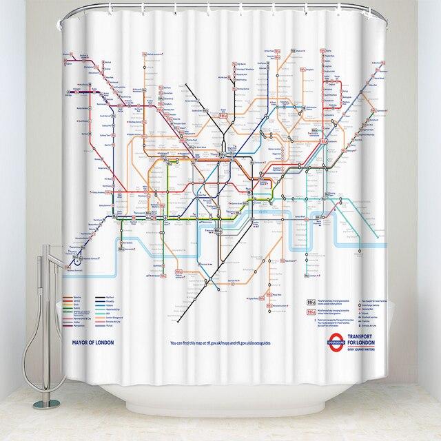 CHARMHOME Mappa Decor Tenda Della Doccia Città Metropolitana di Londra di Transi