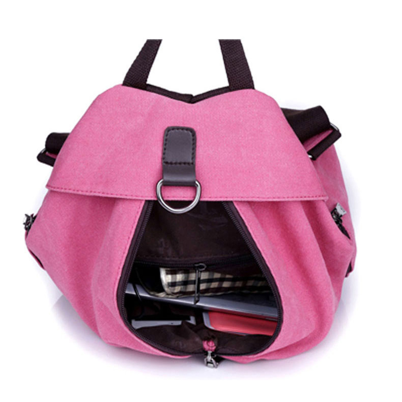 71cdec8edab1 US $16.5 45% OFF|2018 Women Canvas Backpack Preppy College Student Fabric  School Bag Young Teenage Girl Leisure Backpack Travel Bag Pink Red -in ...