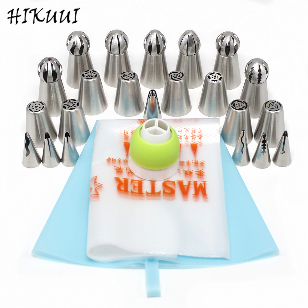22 PCS Stainless Steel Cake Decorating Icing Pastry Piping Nozzles Tips Ball Shape and Russian Style + Korean Style Pastry Tools