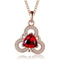 Friendship Symbol Peaceful Three Petal Flower Design Plating Rose Gold Pave Red Zircon Pendant Necklace