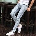 2016 Байкер Джинсы Мужчин Тонкий Тонкий Моды Узкие Джинсы Мужские повседневные Брюки Ноги Высокие Эластичные Узкие Прямые Homme Бренд Одежды FY65