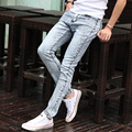 2016 Biker Jeans Men Slim Thin Fashion Skinny Jeans Mens Casual Pants Feet High Elastic Tight Straight Homme Brand Clothing FY65