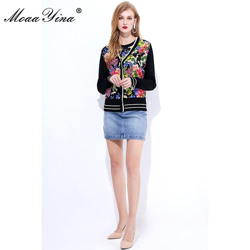 Image 4 - MoaaYina Spring Autumn V neck Long sleeve Knitting Tops Womens  Elegant Floral Print Silk Sweater Thin CoatCardigans
