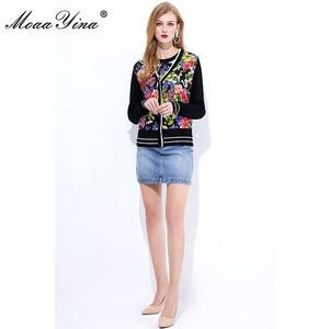 Image 4 - MoaaYina Spring Autumn V neck Long sleeve Knitting Tops Womens Elegant Floral Print Silk Sweater Thin Coat