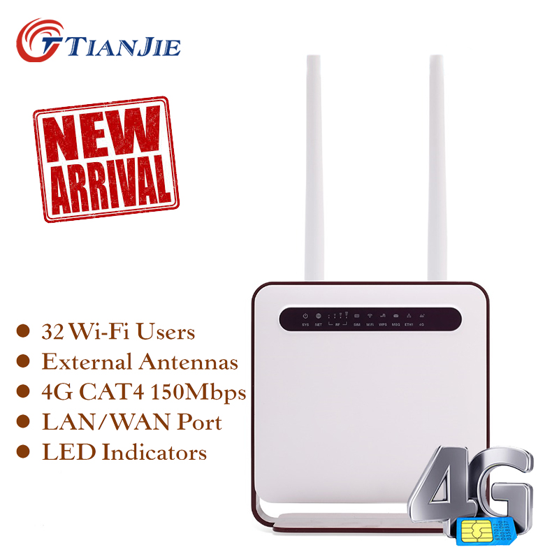 TIANJIE Deblocat Router 4G 300Mbps Router Wifi 4G LTE CPE Router wifi cu port LAN Suport slot pentru card SIM Router wireless WiFi