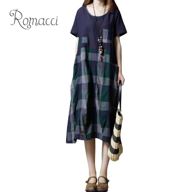 a5792b917d Romacci Women Cotton Linen Dress Summer Plaid Checked Print Short Sleeve  Casual Loose Midi Dresses for Women vestidos Red Green