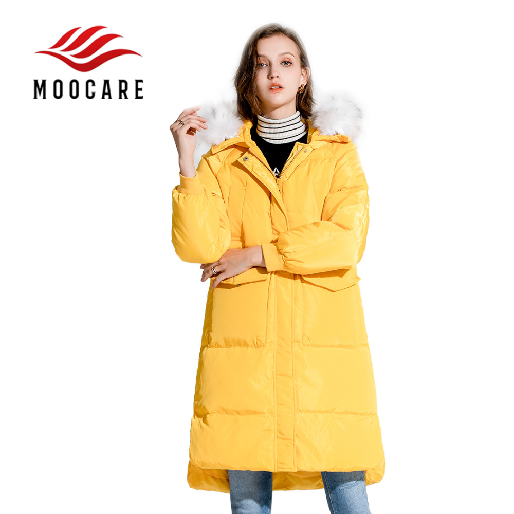 0e868a232142 New     Asymmetric Top Long Length Women Hooded Fur Hat Down Parkas Coat  Winter Down Clothes Jacket (Yellow Black )-in Down Coats from Women s  Clothing   ...