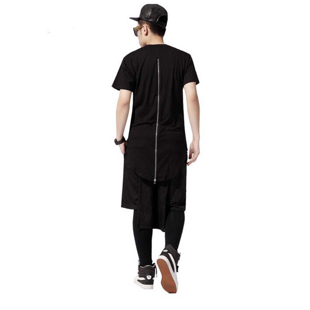 Black t shirt with zipper - Long Back Zipper Streetwear Swag Man Hip Hop Skateboard T Shirt Top Tee Men Clothing Black White T Shirt Xxl