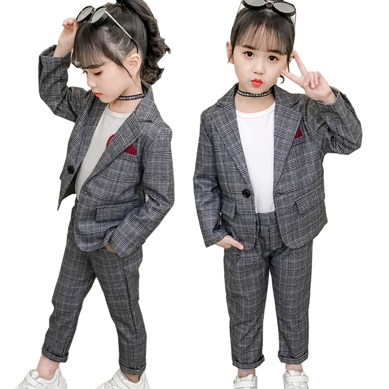 Image 2 - Teenage Girls Clothing Set Autumn Girls Plaid Suit Jackets +Pants School Tracksuit Girls Clothes Children Clothes 8 10 Year-in Clothing Sets from Mother & Kids