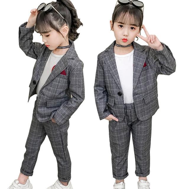 Teenage Girls Clothing Set Spring Fashion Plaid Jackets +Pants Tracksuit School Uniform Girls Clothes Children Clothes 8 10 Year