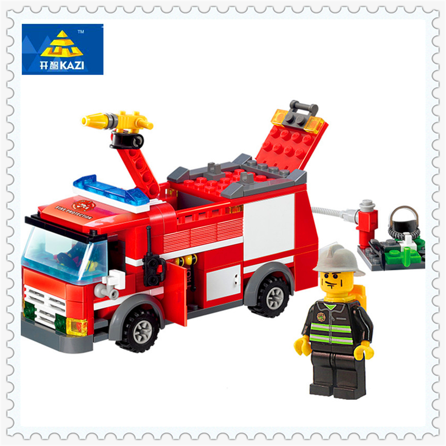 206Pcs Fire Truck Firefighter Rescue Model Building Block Toys KAZI 8054 Construction Gift For Children Compatible Legoe lepin 22001 pirate ship imperial warships model building block briks toys gift 1717pcs compatible legoed 10210