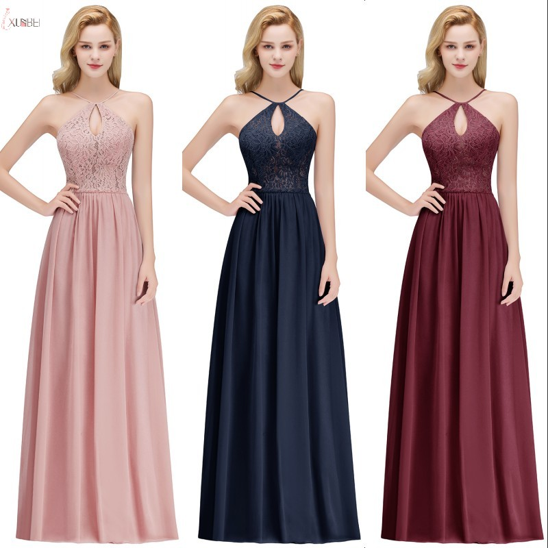 Sexy Halter Chiffon Lace Long   Bridesmaid     Dresses   2019 Sleeveless Wedding Guest Party   Dress   robe demoiselle d'honneur