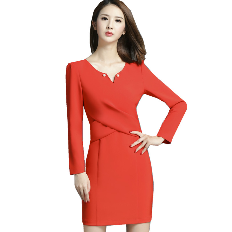 Fmasuth Full Sleeve Women Office Autumn Dress Ladies Elegant Drapped V Neck Business Work Dress Vestido Mujer SL0900