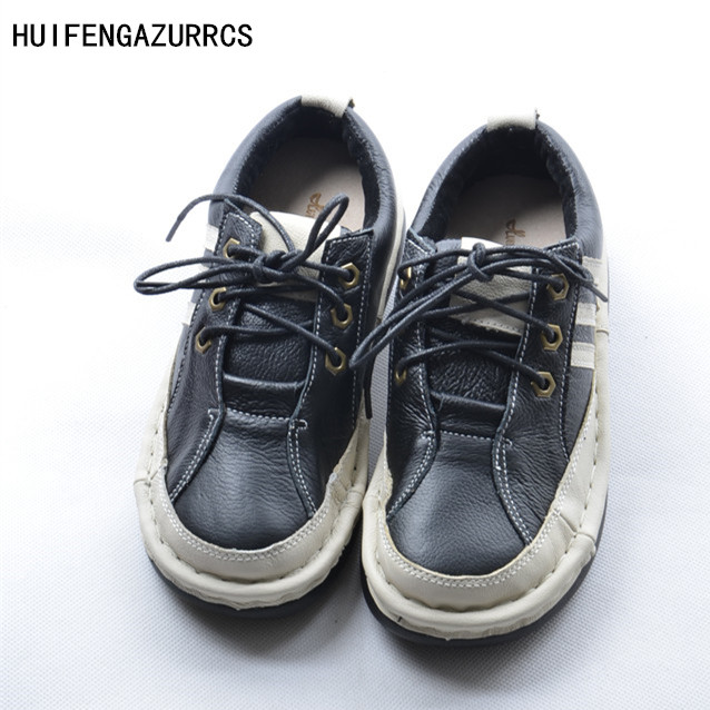 HUIFENGAZURRCS-New The British School Small fresh style all-match casual female shoes pure Handmade Genuine leather Flat shoes huifengazurrcs new pure handmade casual