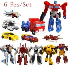 6 Pcs Set Transformation Robots Toys Deformation Cars Robots Action Figures PVC classic RobotsToys for Children