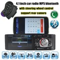 12 V 4.1 ''polegadas HD tela rádio do carro do bluetooth Do Carro MP5 áudio Estéreo FM suporte reverso rear view camera steering wheel controle