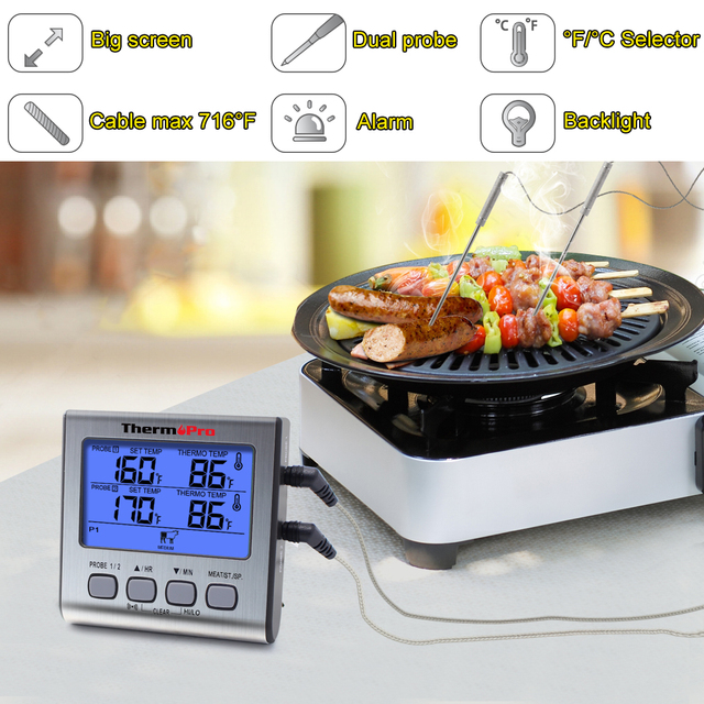 ThermoPro TP17 Dual Probes Digital Outdoor Meat Thermometer Cooking BBQ Oven Thermometer with Big LCD Screen For Kitchen