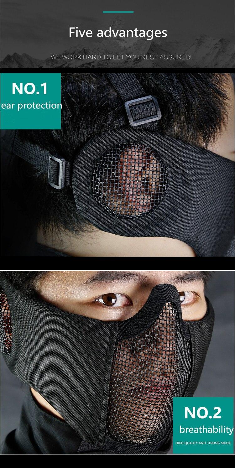 proteção da orelha ao ar livre ciclismo aço tático máscara