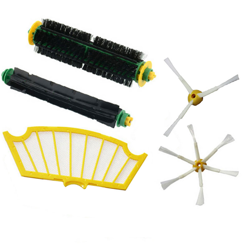 High Quality Bristle&Flexible Beater Brush Armed Filter for iRobot Roomba 500 Series 520 530 540 550 560 Vacuum Cleaner Parts 3 filters 3 side brush 3 armed vacuum cleaner accessory kit for irobot roomba 500 series 530 540 550 560 570 580 610