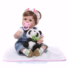 47cm Soft Toys Cloth Body Silicone Reborn Baby Doll Toy for Girls Vinyl Newborn Babies Dolls Kids with Panda Gift Brinquedos 50cm reborn babies dolls toys for children soft cloth body silicone vinyl newborn baby dolls high quality doll toys xmas gift