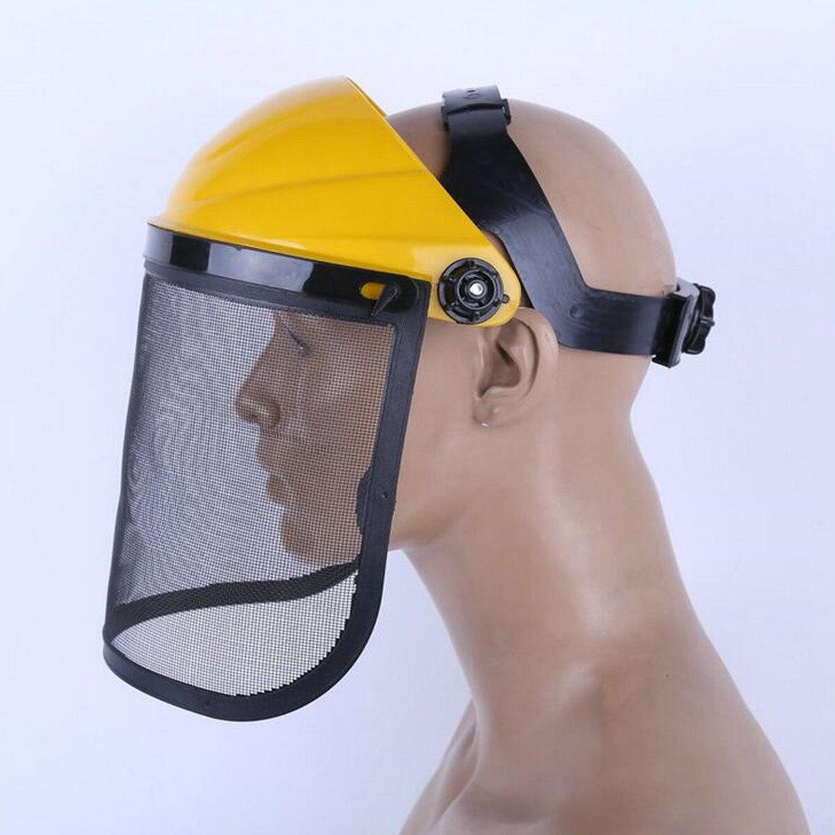Large Steel Metal Mesh Visor Safety Helmet Hat For Chainsaw Brush Cutter Forestry Mower Face Protective Mask Anti-shock Visors