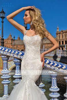 CLOUDS IMPRESSION Sexy 2019 Mermaid Wedding Dress Lace Beading Appliques Bride Tulle Dress Vestige De Noiva Chapel Train