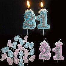 Креативные Серебристые розовые/синие свечи с короной и цифрами на день рождения 0-9 для детей, взрослых девочек и мальчиков, праздничные свечи для торта, украшения