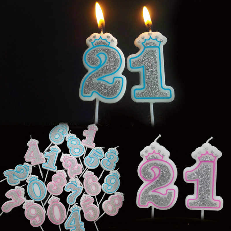 Creative Sliver Pink/Blue Crown Birthday Number Candles 0-9 for Kids Adult Girls Boys Birthday Party Candles Cake Decorations