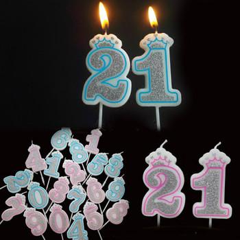 Kreatywna Sliver różowa niebieska korona numer urodzinowy świece 0-9 dla dzieci dorosłe dziewczyny chłopcy urodziny świece na przyjęcie ciasto dekoracje tanie i dobre opinie FW-TW9103 Art świeca Kolorowe płomień Ogólne świeca Parafina Wedding Birthday Party Party Wedding Crown Number 1 pcs