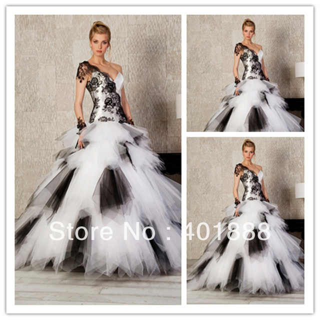 cheap black and white lace applique organza puffy plus size wedding ...
