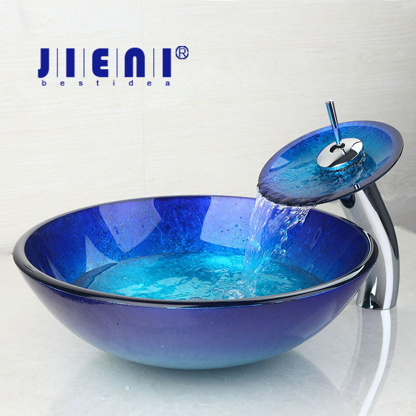AU Blue Chrome Tall Basin Tap+Bathroom Sink Washbasin Tempered Glass Hand-Painted Waterfall Bath Brass Set Faucet,Mixer Tap free shipping wine glass shape grilled white painted tall bathroom waterfall faucet fancy style white basin sink mixer tap w004