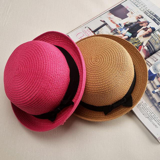2016 Marca de Moda Panamá Multicolor Mujeres de Las Señoras de la Playa Del Verano de Ala Ancha Sombrero para el Sol Plegable Casquillo de la Paja Con La Cinta Del Arco Femenino