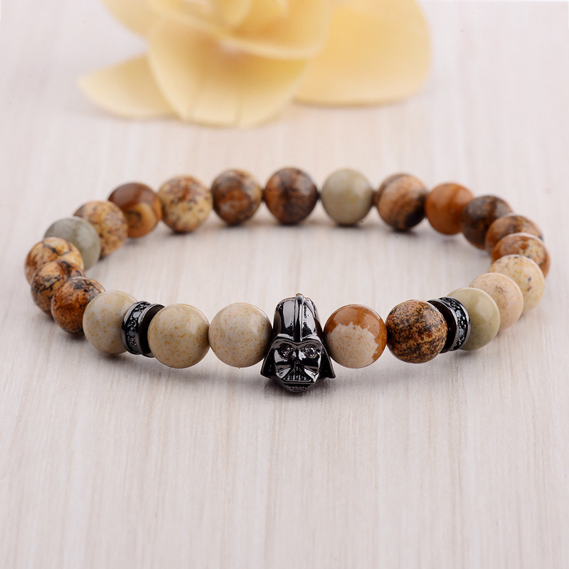 DOUVEI 17 New Charm Mens Star Wars Darth Vader CZ Beaded Bracelets 8mm Bright Black Lava Stone AB1012 7