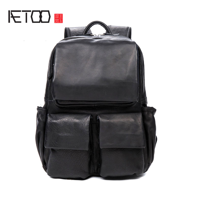 AETOO Men and women Casual leather shoulder bag travel backpack head layer leather meifeier 407 women s fashionable knitted chiffon blouse apricot l