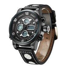 Genuine Leather Strap Men Wristwatches Fashion Casual Quartz Digital Dual Timezone watches Sport Military Relogio Masculino