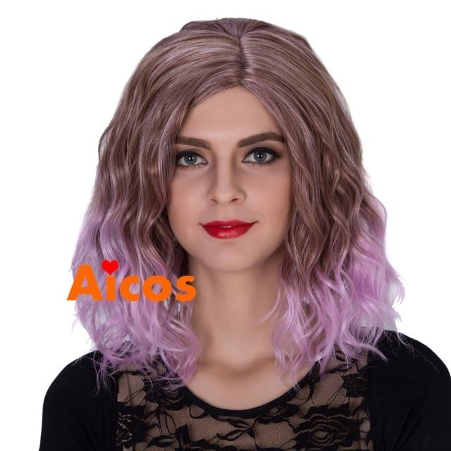 Pastel Lavender Wig Short Beach Waves Hairstyle Wig Lavender Short