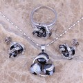 Charming Black Created Sapphire Silver Jewelry Sets Earrings Pendant Ring Size 6 / 7 / 8 / 9 / 10 / 11 / 12  S0122